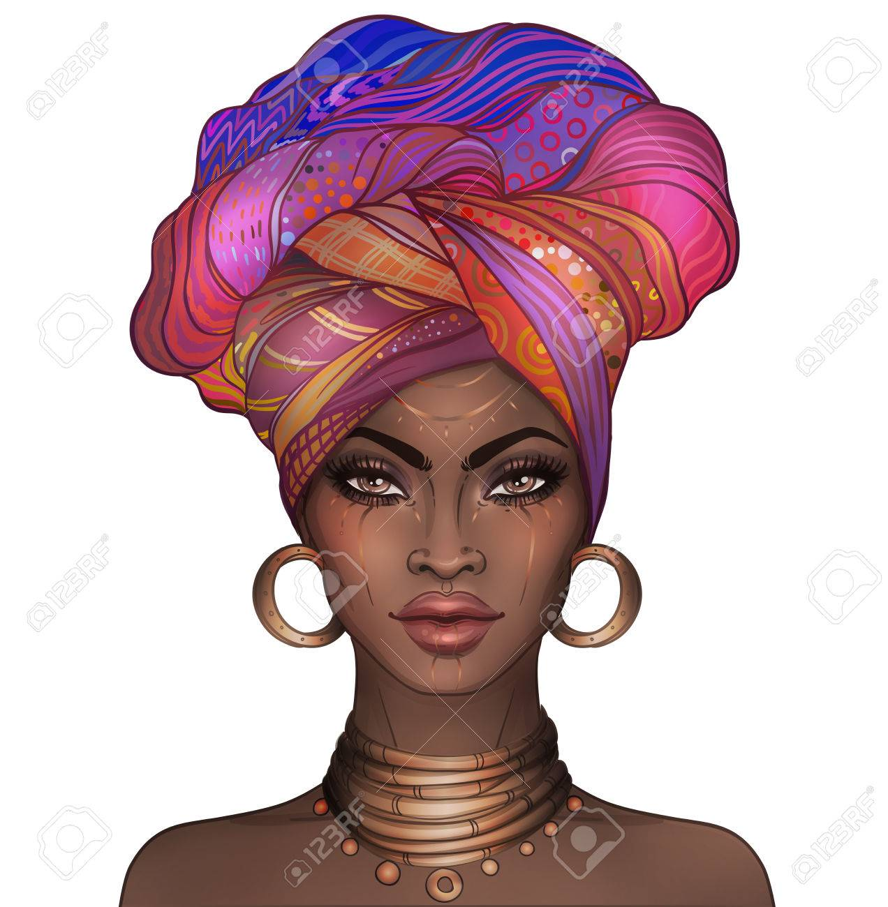 African American pretty girl. Raster Illustration of Black Woman with glossy lips and turban. Great for avatars. Illustration isolated on white. - 78308011