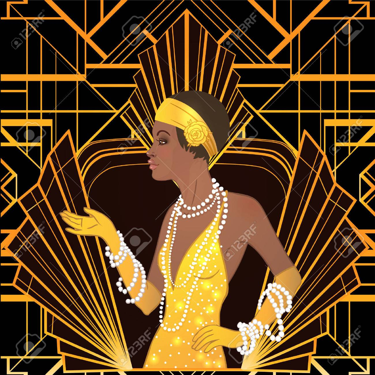 Retro fashion: glamour girl of twenties (African American woman). Vector illustration. Flapper 20's style. Vintage party invitation design template. Fancy black lady. - 78749789