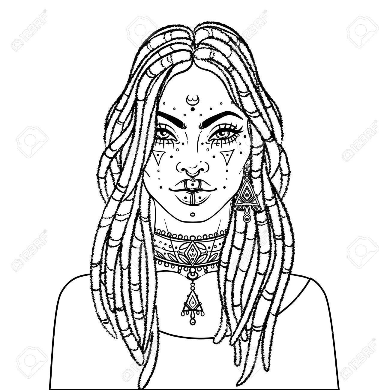 African American Niña Bonita. Ilustraciones Vectoriales De Mujer ...