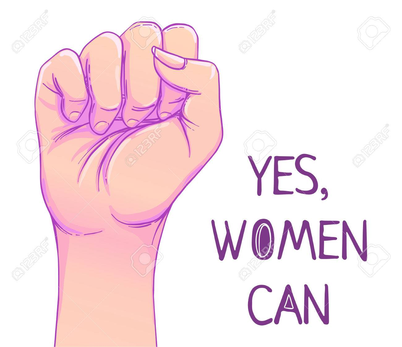Yes, Women Can. Woman's hand with her fist raised up. Girl Power. Feminism concept. Realistic style vector illustration in pink pastel goth colors isolated on white. Sticker, patch graphic design. - 78830480