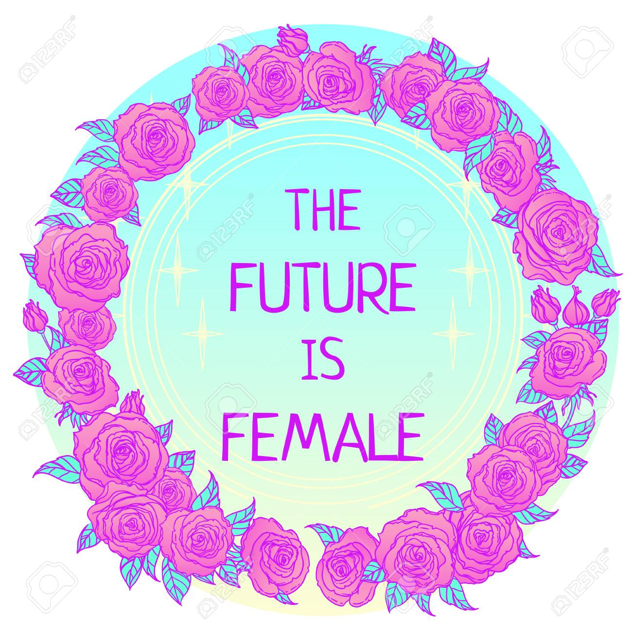 The future is female. Girl Power. Feminism concept. Realistic style vector illustration in pink pastel goth colors isolated on white. Sticker, patch graphic design. - 78878009
