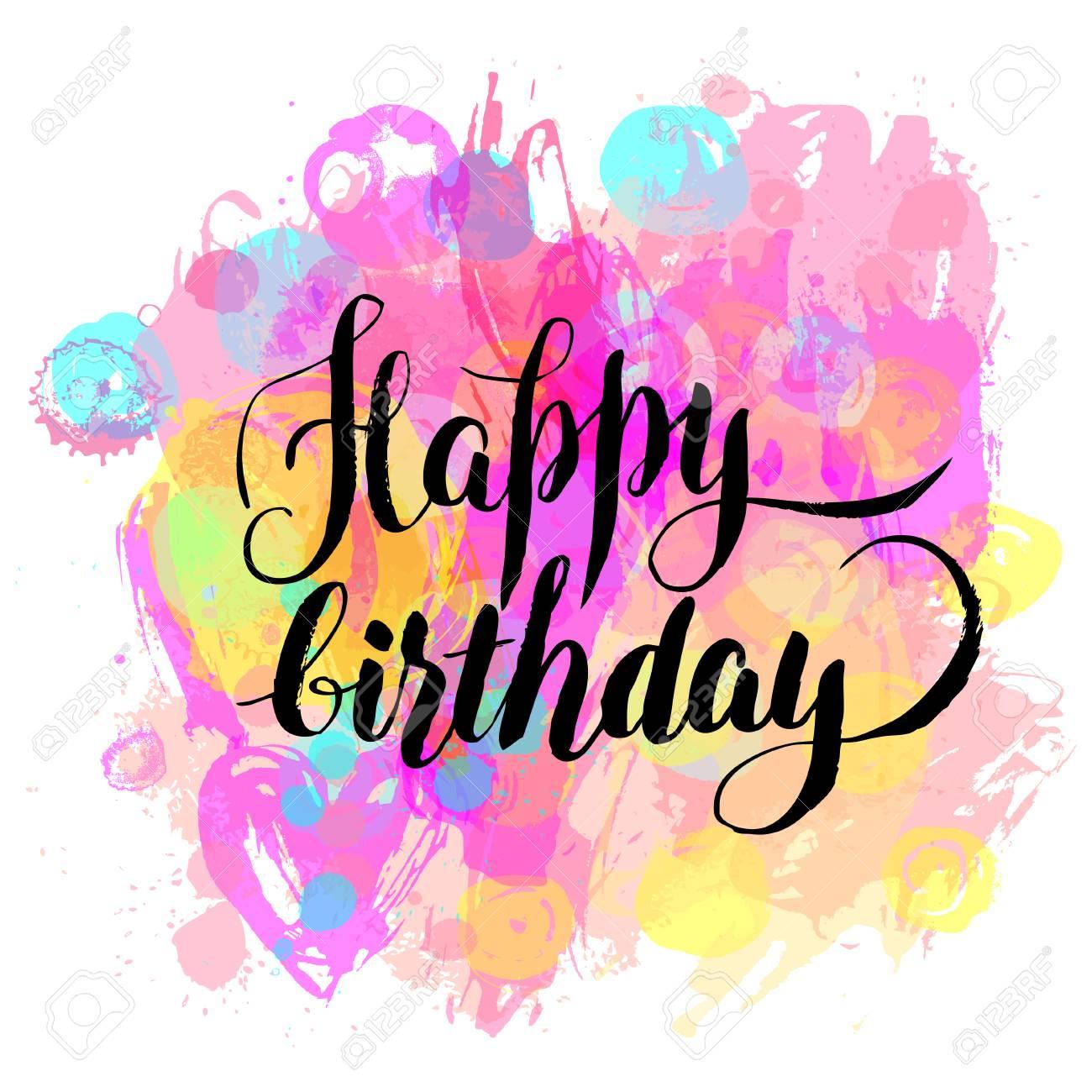Happy Birthday Watercolor Greeting Card Vector Illustration