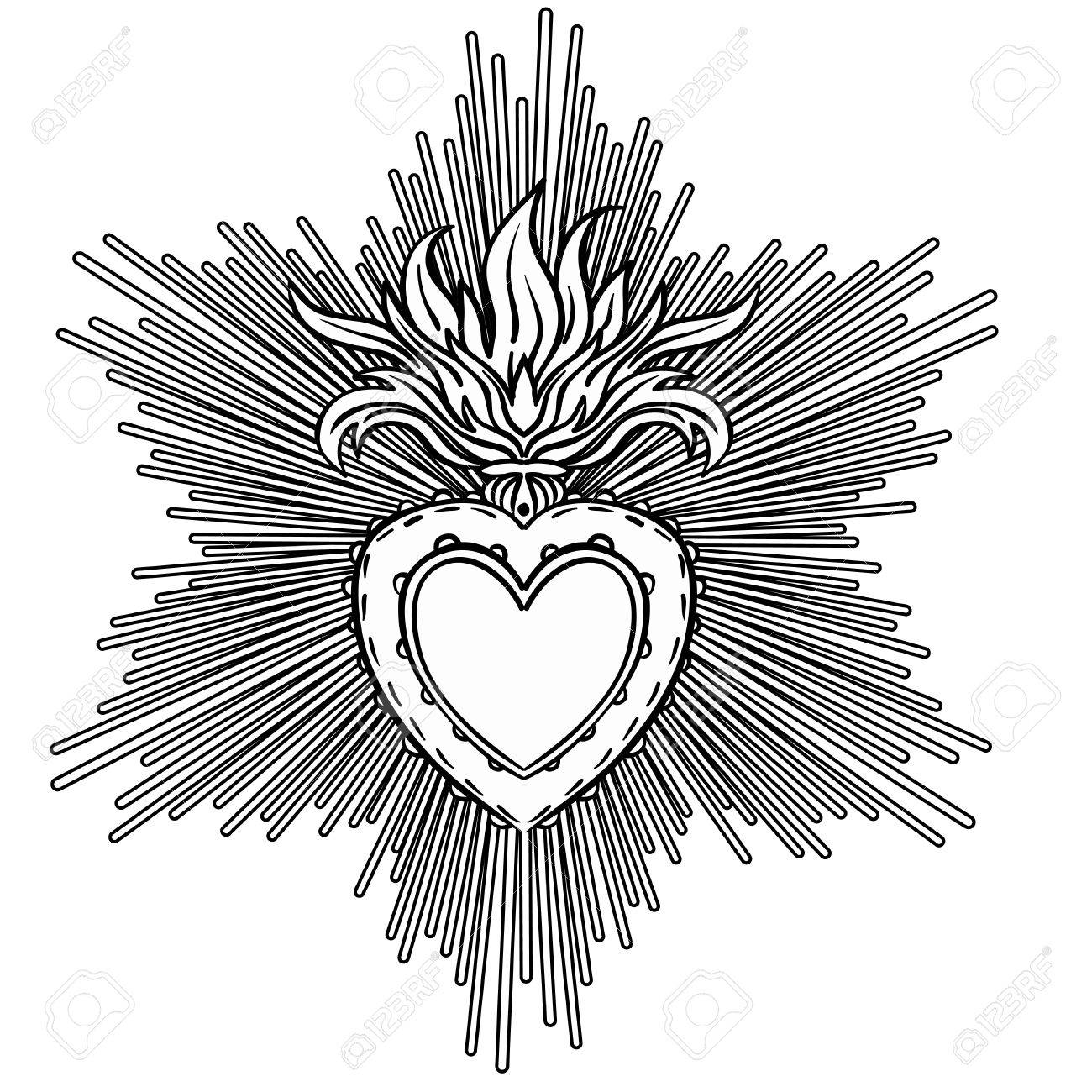 sacred heart of jesus with rays vector illustration black isolated