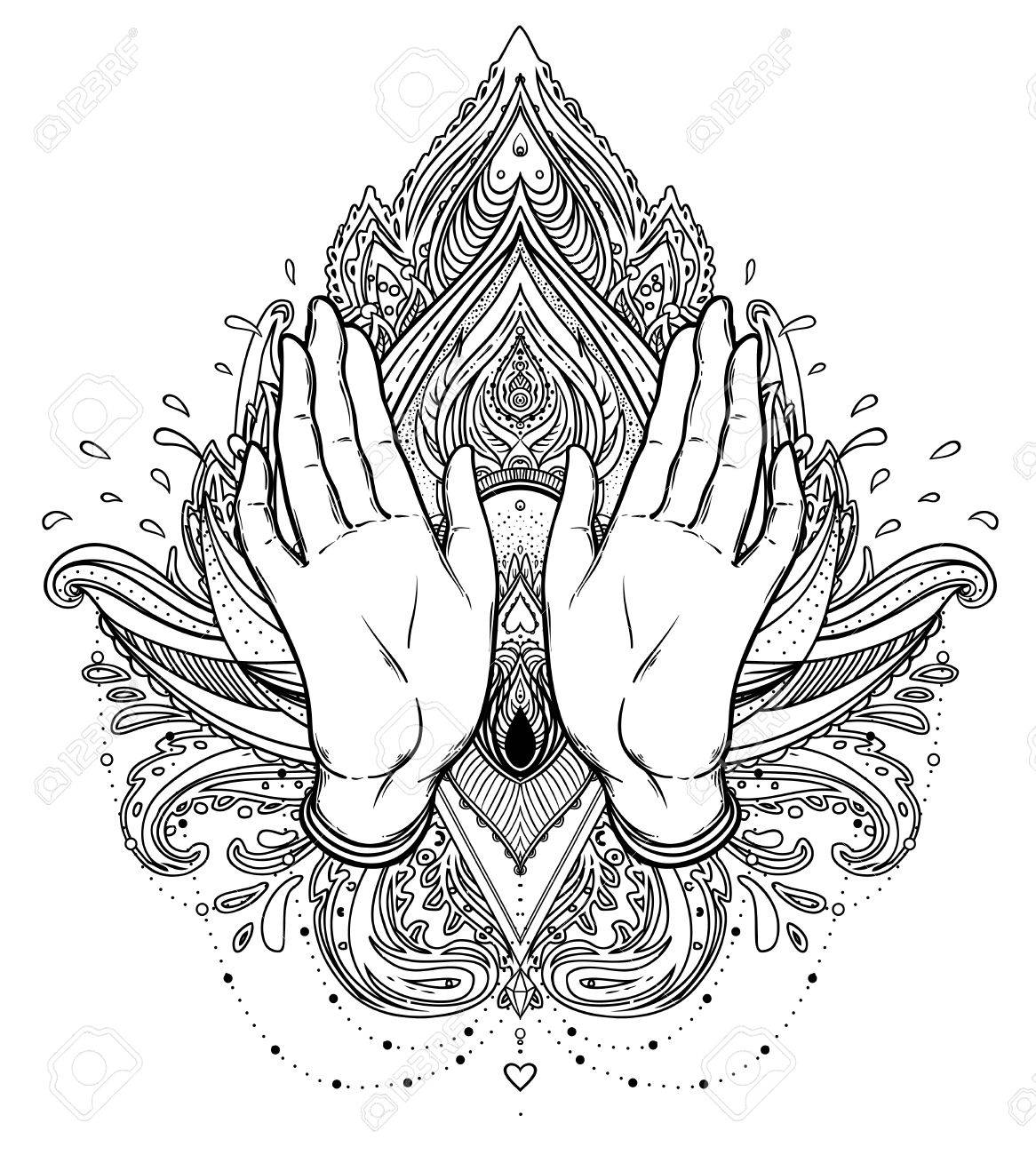 Vector ornamental lotus flower and praying hands patterned indian vector vector ornamental lotus flower and praying hands patterned indian paisley inticate illustration invitation element tattoo astrology alchemy mightylinksfo