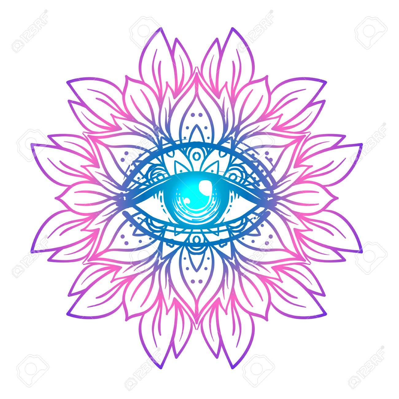 Símbolo Sagrado De La Geometría Con Todo El Ojo Que Ve En Colores ...