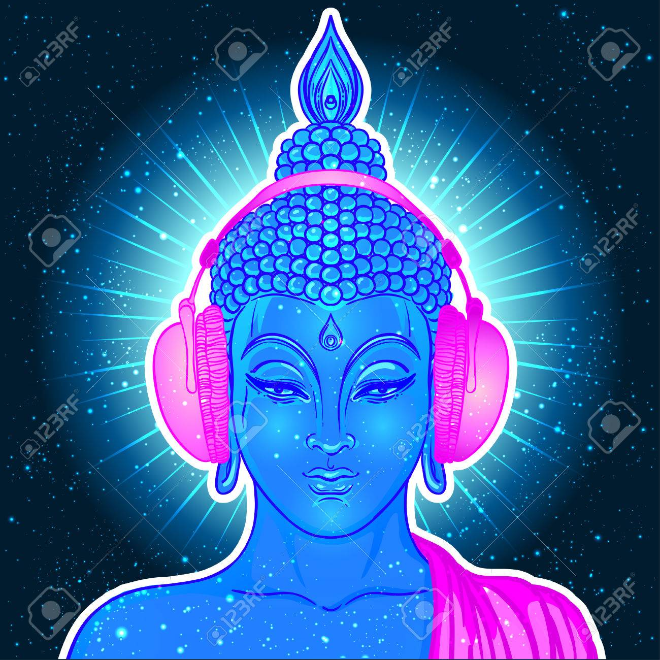 Modern Buddha listening to the music in headphones in neon colors isolated on white. Vector illustration. Vintage psychedelic composition. Indian, Buddhism, trance music. Sticker, patch design. - 78830551