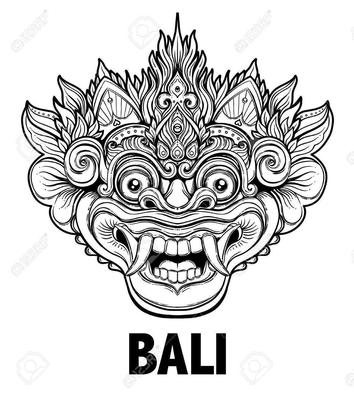 Barong traditional ritual balinese mask vector decorative ornate barong traditional ritual balinese mask vector decorative ornate outline illustration isolated hindu ethnic buycottarizona