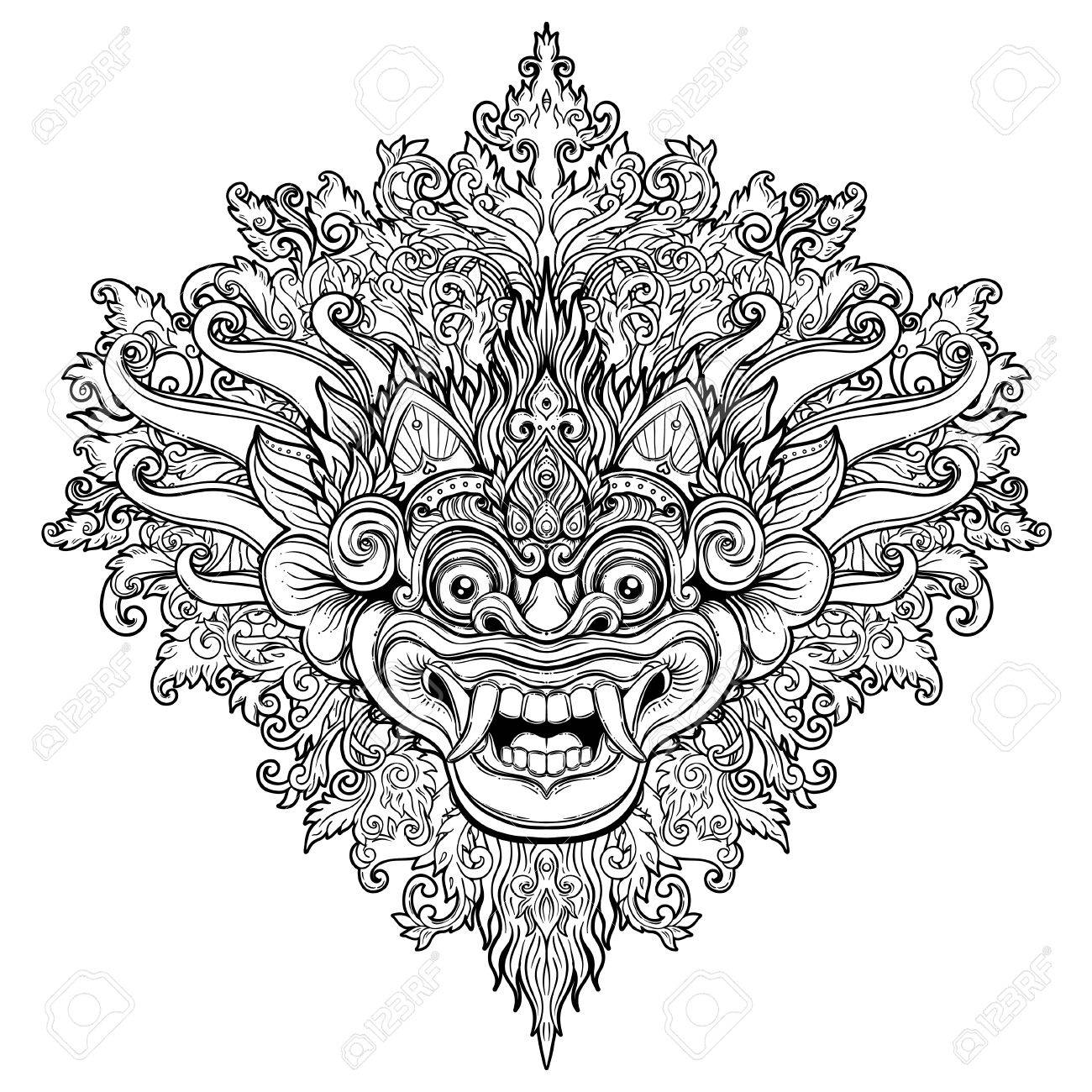 Barong Traditional Ritual Balinese Mask Vector Decorative Ornate