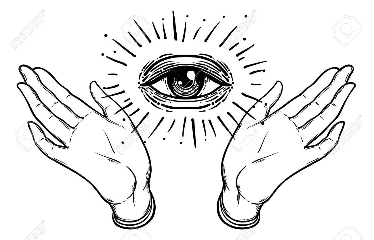 Open hand with the all seeing eye on the palm occult design open hand with the all seeing eye on the palm occult design vector illustration biocorpaavc Gallery