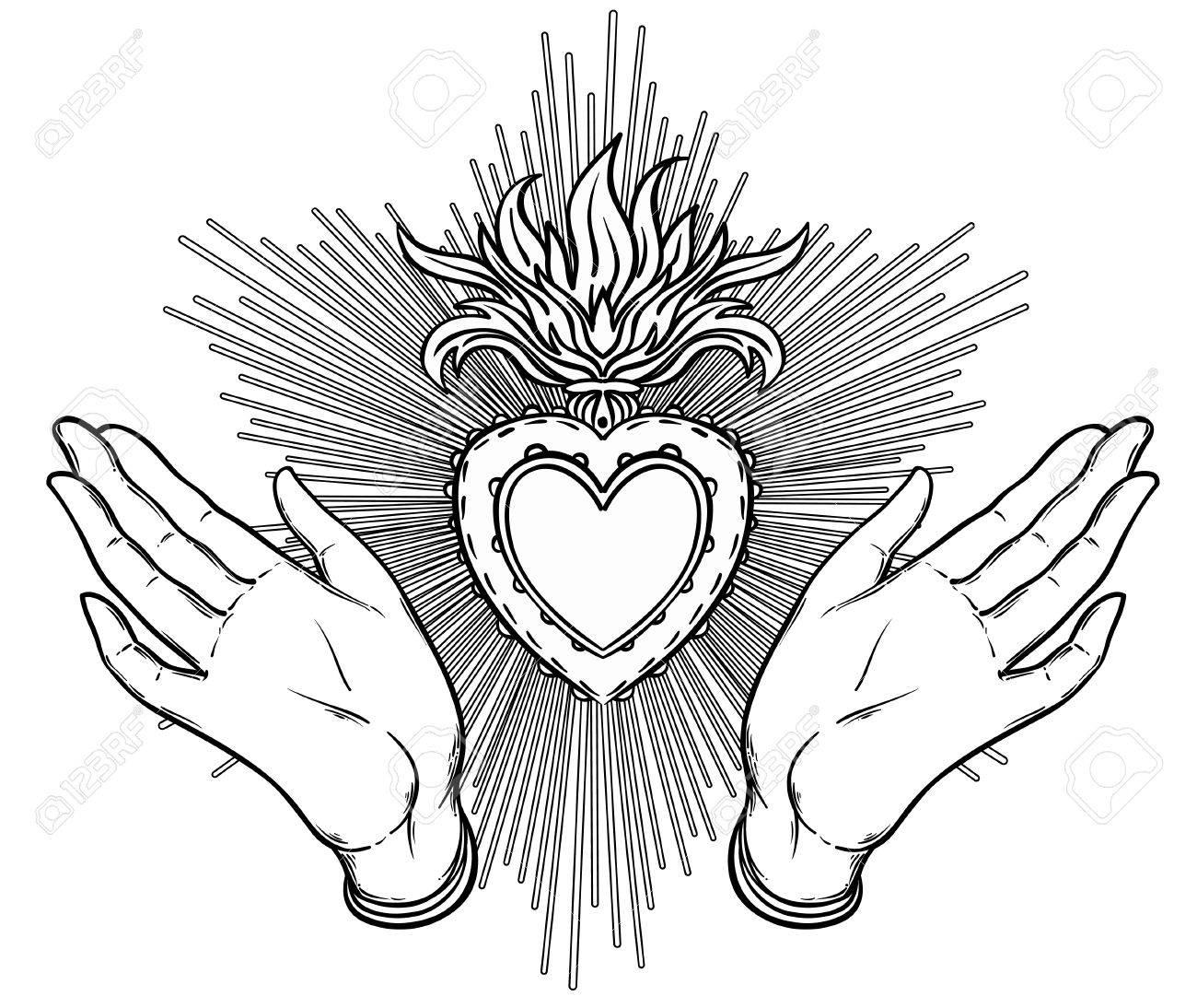 La Hembra Abre Las Manos Alrededor Del Corazón Sagrado De Jesús