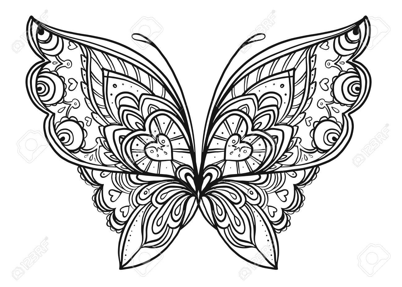Hand Drawn Butterfly Zentangle Style Inspired For T-shirt Design ...