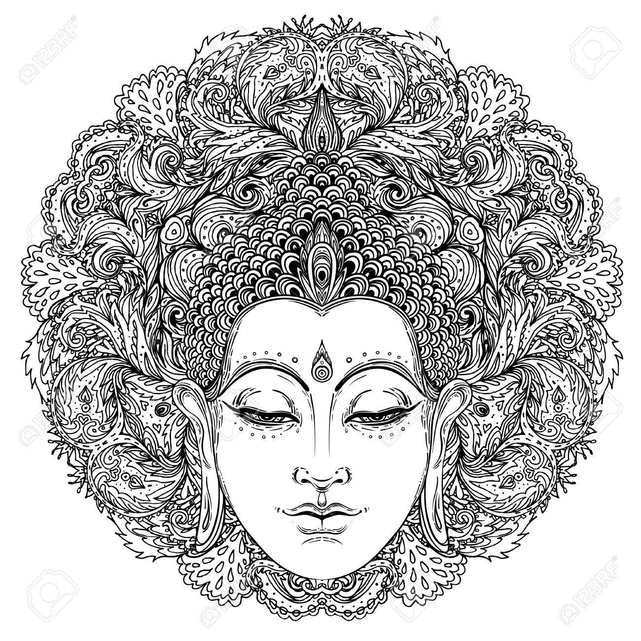 Cara De Buda Sobre Patrón Redondo De La Mandala Adornada. Esotérico ...