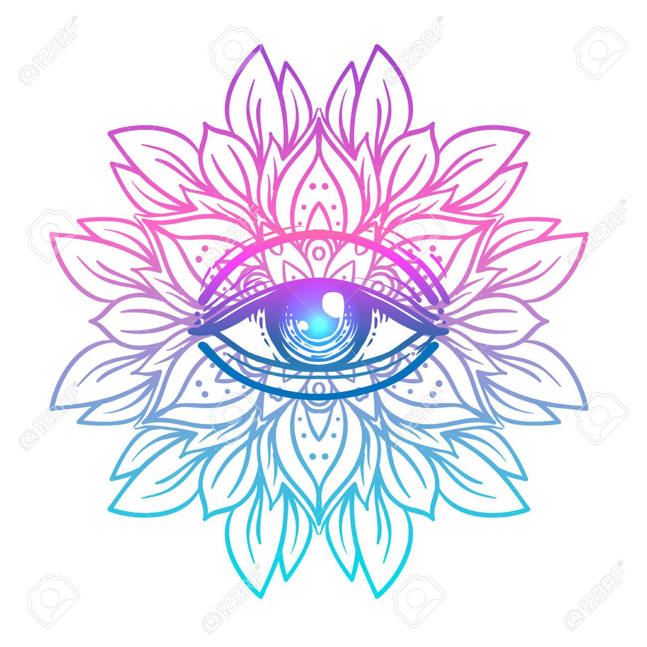 Sacred geometry symbol with all seeing eye in acid colors. Mystic, alchemy, occult concept. Design for indie music cover, t-shirt print, psychedelic poster, flyer. Astrology, esoteric, religion. - 78830670