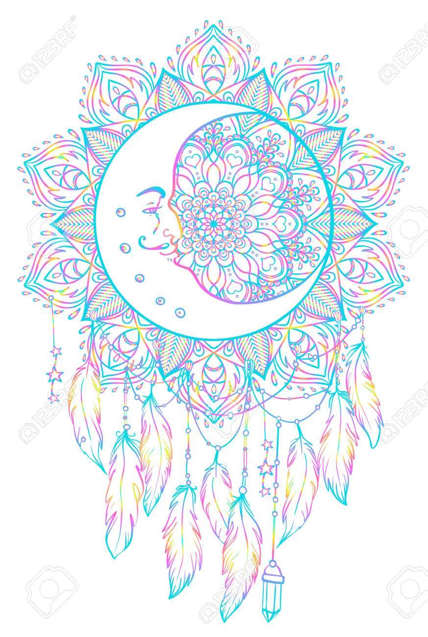 Dibujado A Mano Native American Indian Talismán Dreamcatcher Con ...