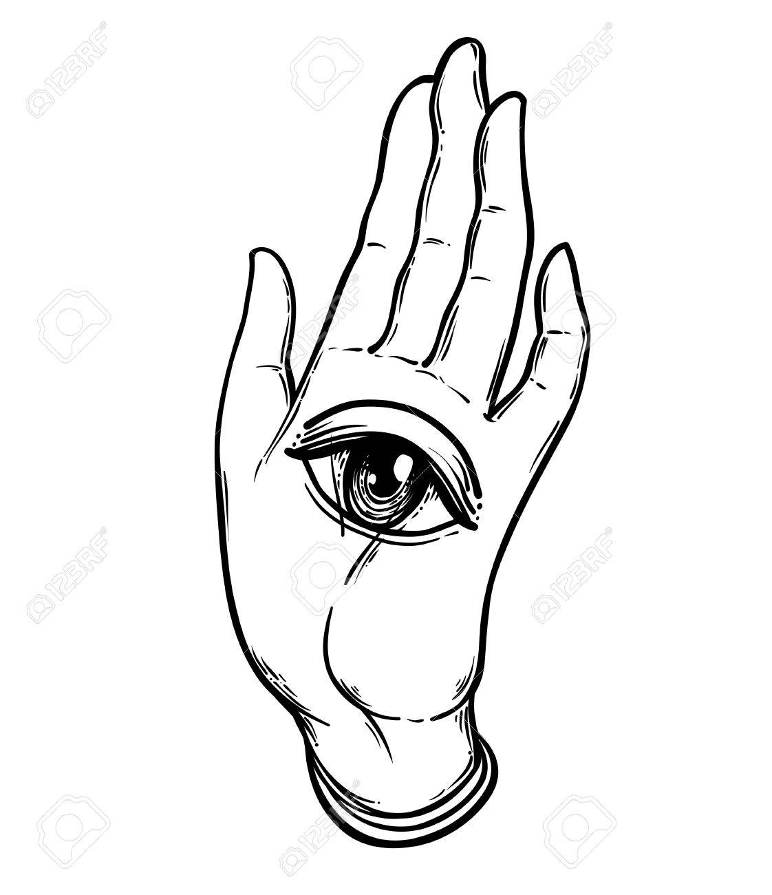 open hand with the all seeing eye on the palm occult design