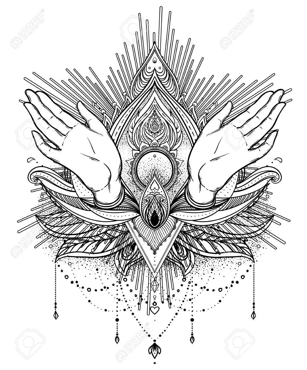 Vector Ornamental Flor De Loto Y Manos De Rogación Paisley Indio