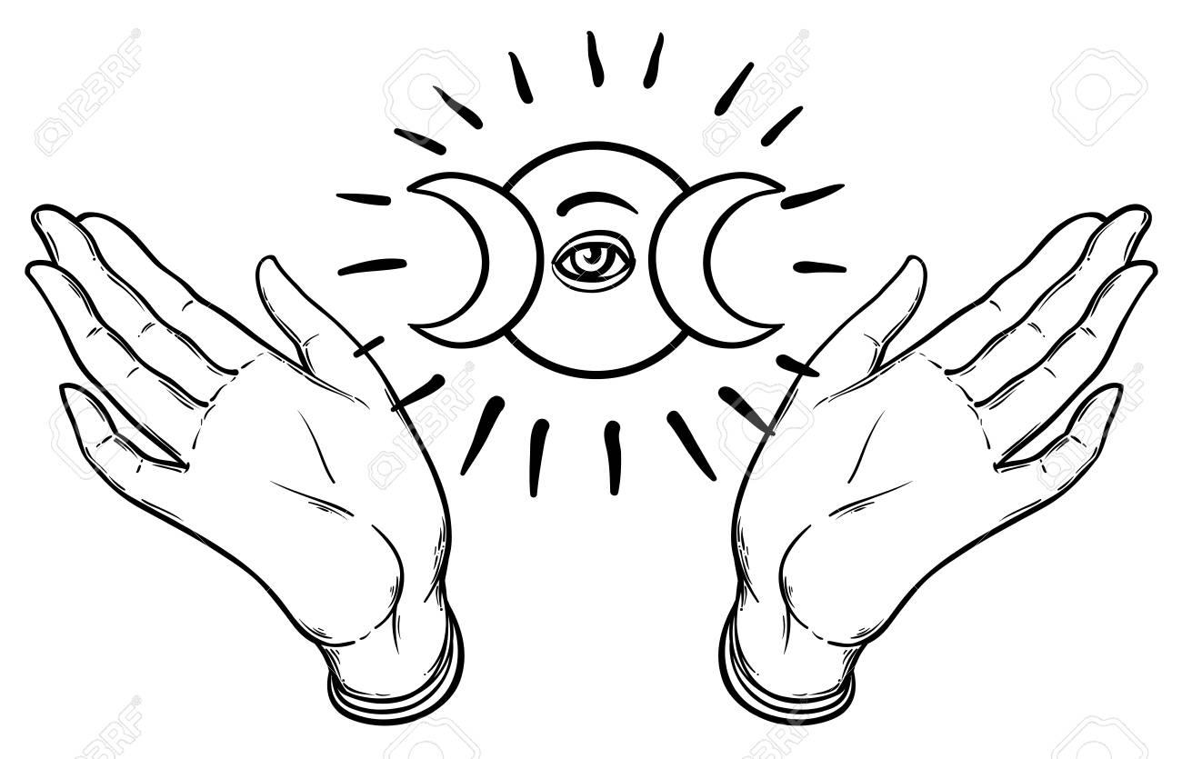 Female Hands Open Around Masonic Symbol New World Order Hand Drawn