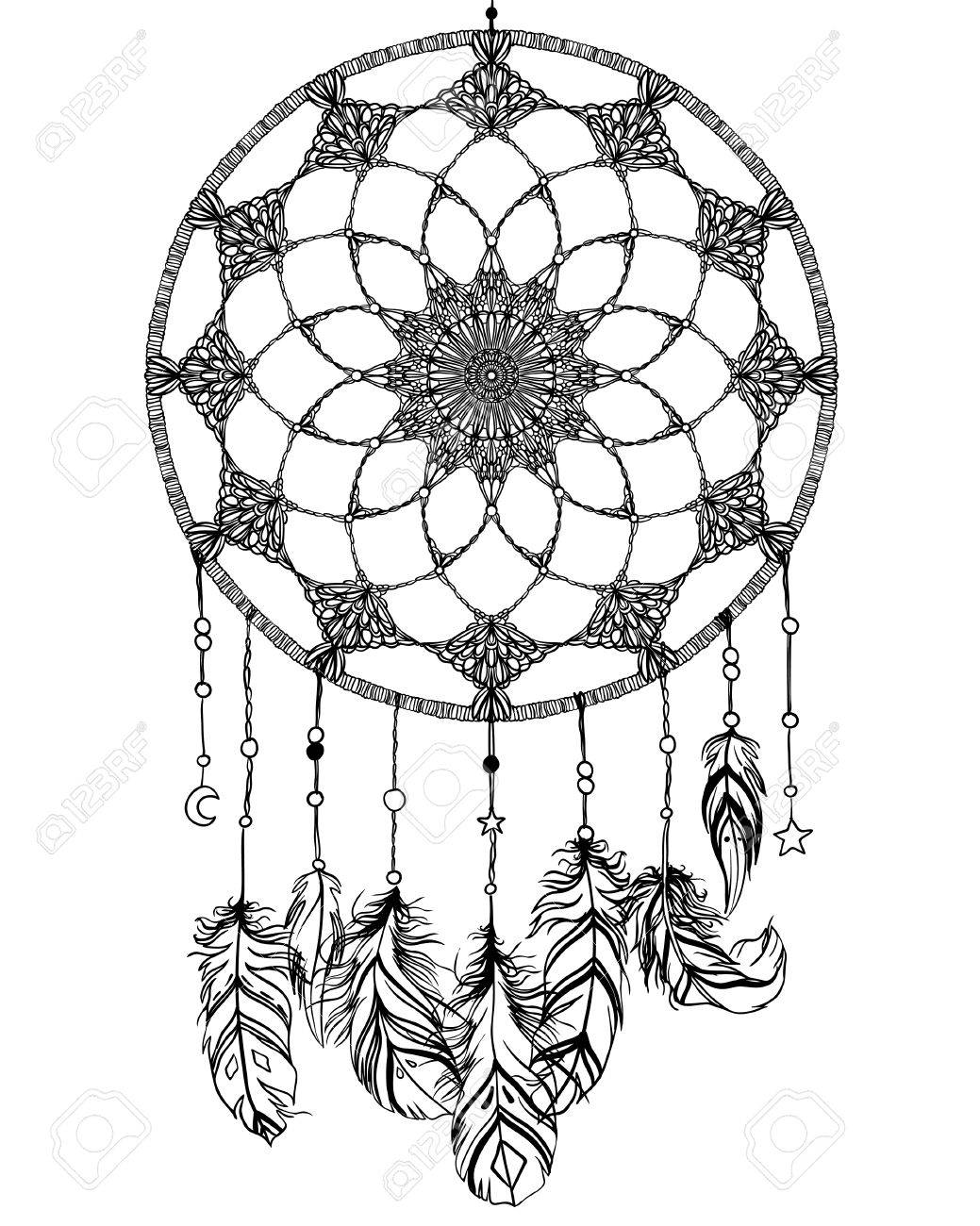 Kleurplaten Indianen Veren.Hand Getrokken Indiaanse Talisman Dreamcatcher Met Veren En Maan Vector Hipster Illustratie Geisoleerd Op Wit Etnisch Ontwerp Boho Chic Tribaal