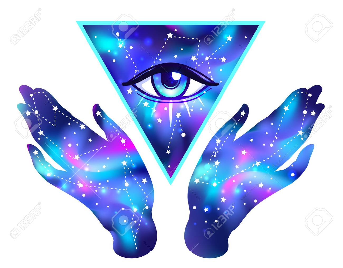 Open hands with galaxy inside open around masonic symbol. New World Order. Hand-drawn alchemy, religion, spirituality, occultism. Vector isolated on white. Astrology, Sacred Spirit. - 78830700