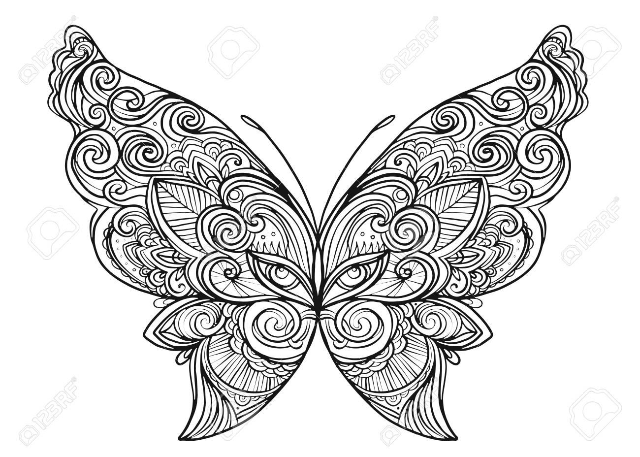 El Estilo Dibujado Mano Del Zentangle De La Mariposa Inspiró Para El ...