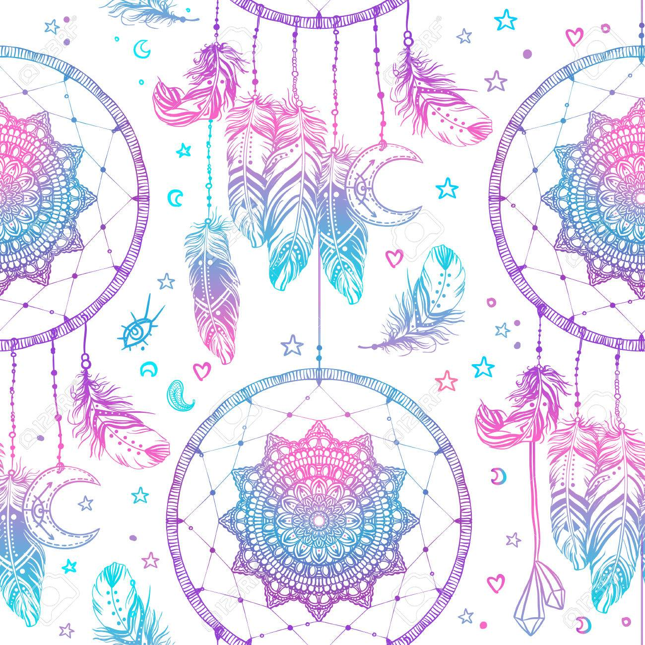 Hand drawn Native American Indian talisman dreamcatcher with feathers and moon. Seamless pattern. Vector hipster illustration. Ethnic design, boho chic, tribal symbol. Good fabric, textile, walpaper - 79054371