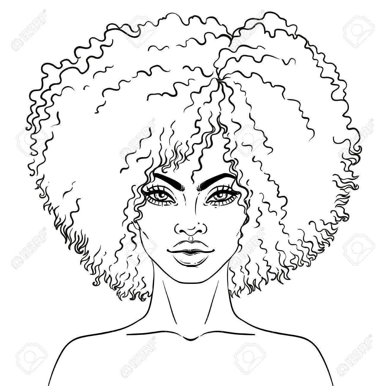 Afro Americaine Jolie Fille Illustration Vectorielle De Femme Noire Ideal Pour Les Avatars Livre De Coloriage Pour Adultes Carte De Visage