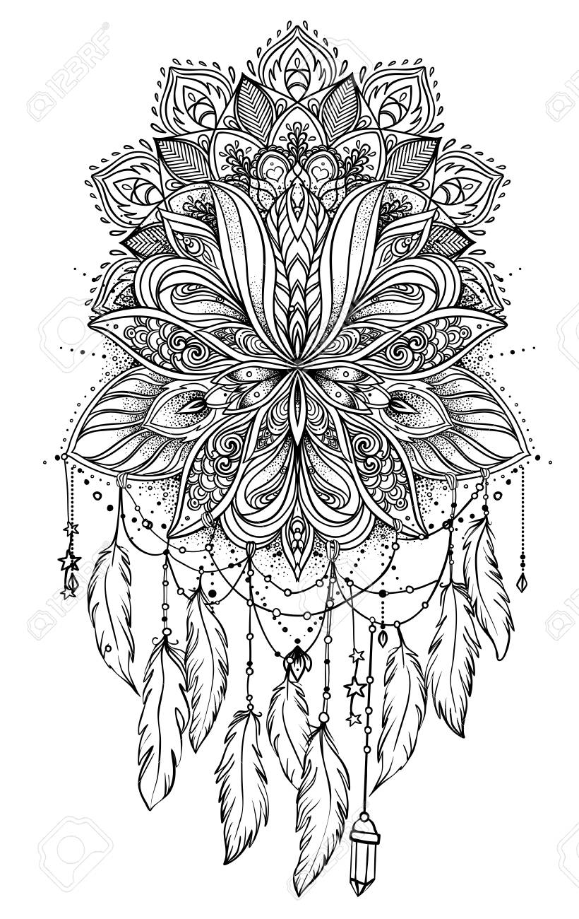 - Hand Drawn Native American Indian Talisman Dreamcatcher With