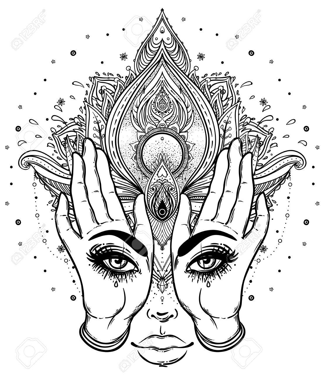 Mysterious creature with eyes on the hands over vector ornamental Lotus flower and praying hands, patterned Indian paisley. Invitation element. Tattoo, astrology, alchemy, boho and magic symbol. - 78830808