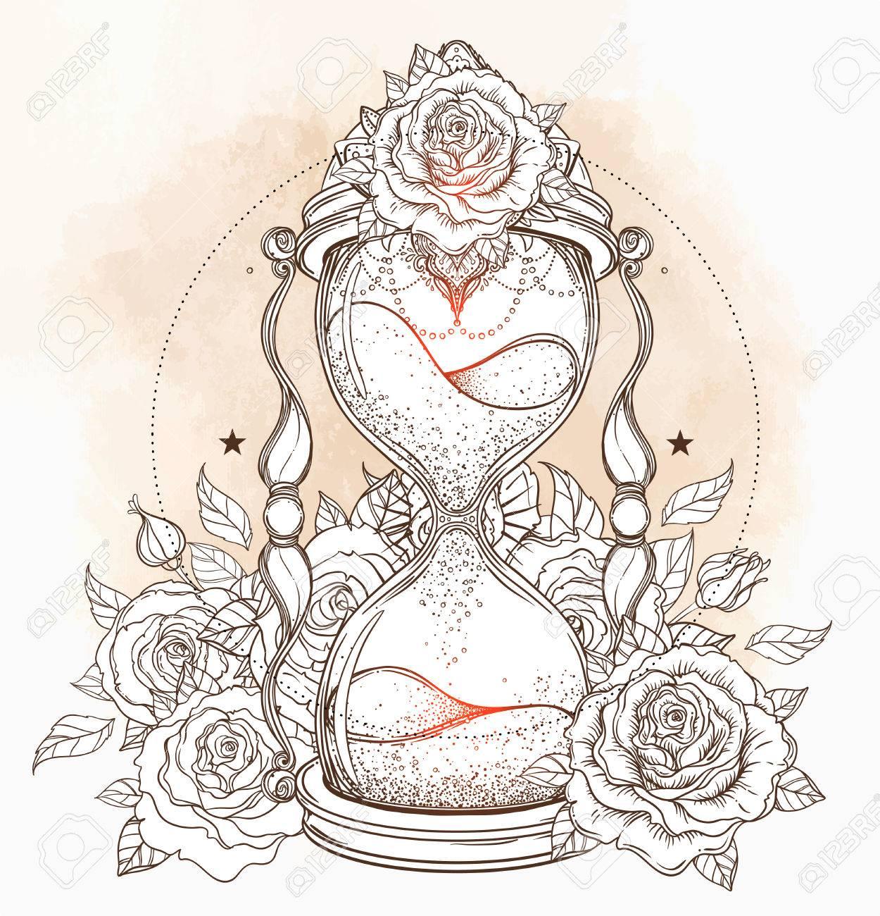 Reloj De Arena Antiguo Decorativo Con Ilustración Rosas Aislado En Blanco Dibujado A Mano Vector De Arte Bosquejo Para El Tatuaje Del Puntowork