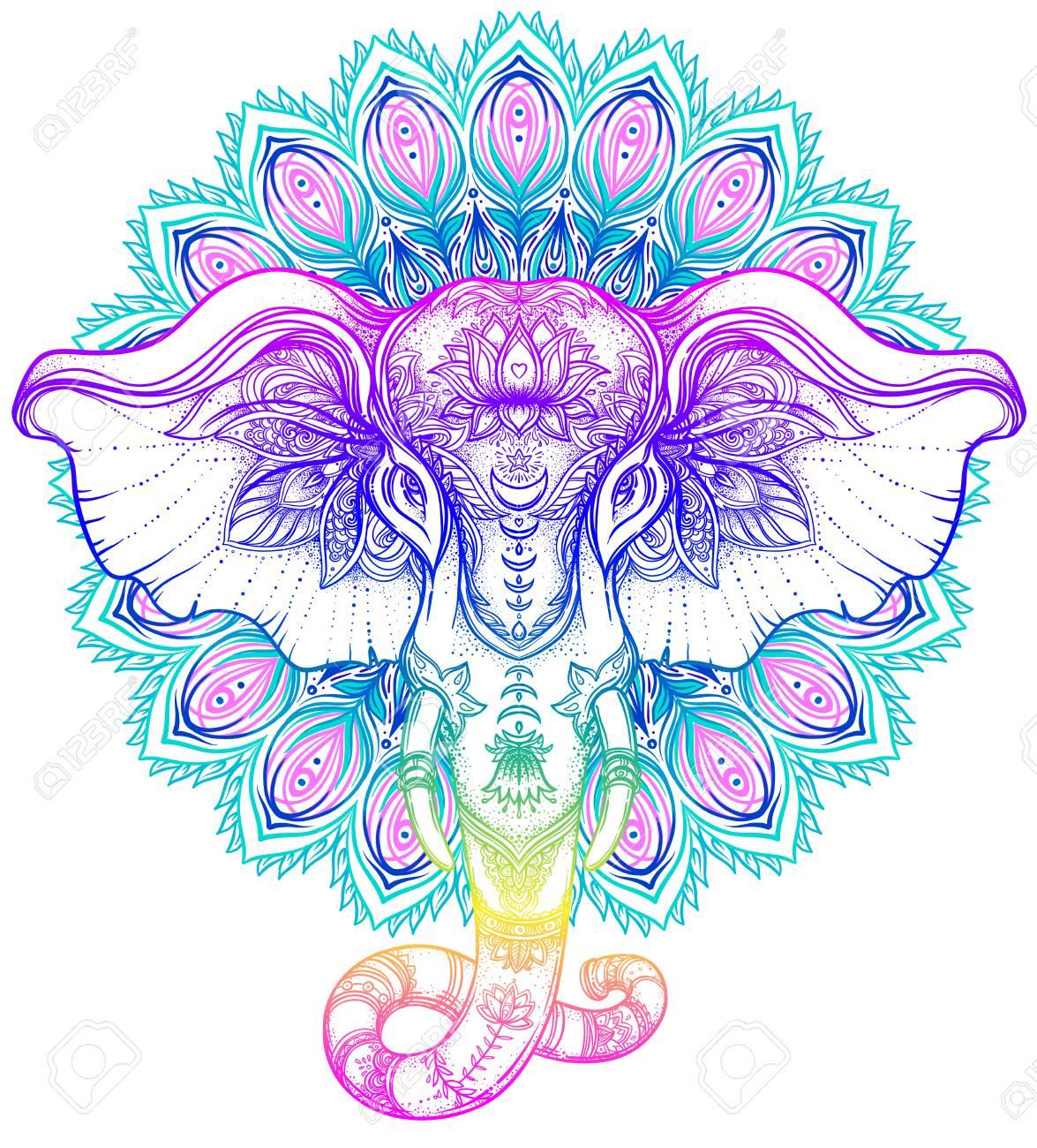 Beautiful hand-drawn tribal style elephant over mandala. Colorful design with boho pattern, psychedelic ornaments. Ethnic poster, spiritual art, yoga. Indian god Ganesha, Indian symbol. T-shirt print. - 79138111