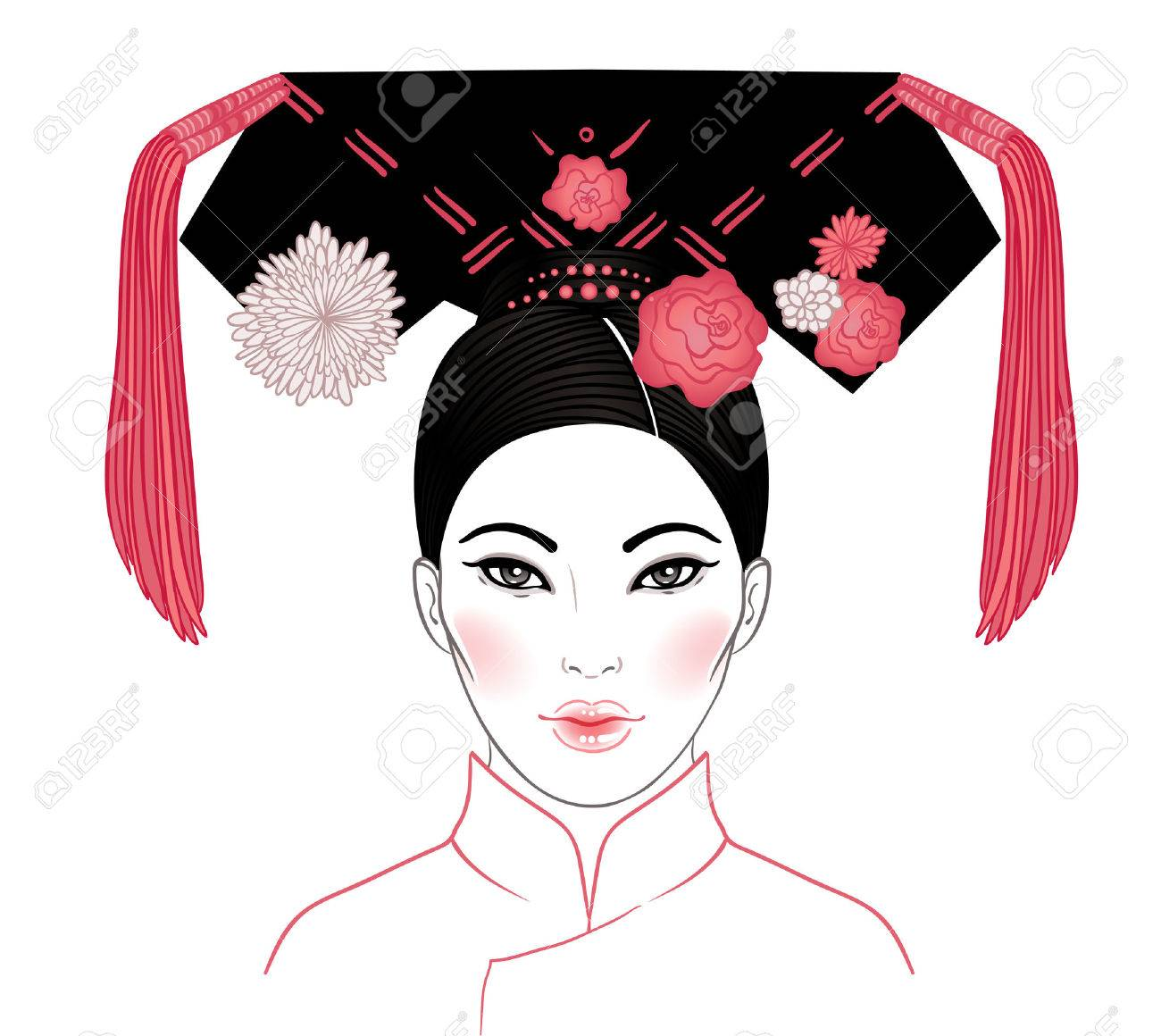 Noble Manchurian Woman of Qing Dynasty, 19th Century. Traditional Chinese hairstyle with a hair board, called double horns, decorated with flowers and tassels. Vector illustration isolated on white. - 79136857