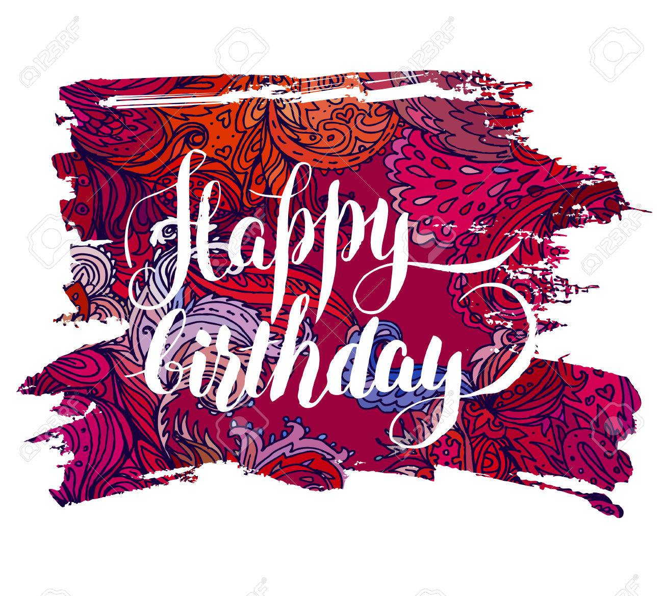 Happy Birthday: Beautiful Greeting Card. Bright Illustration ...