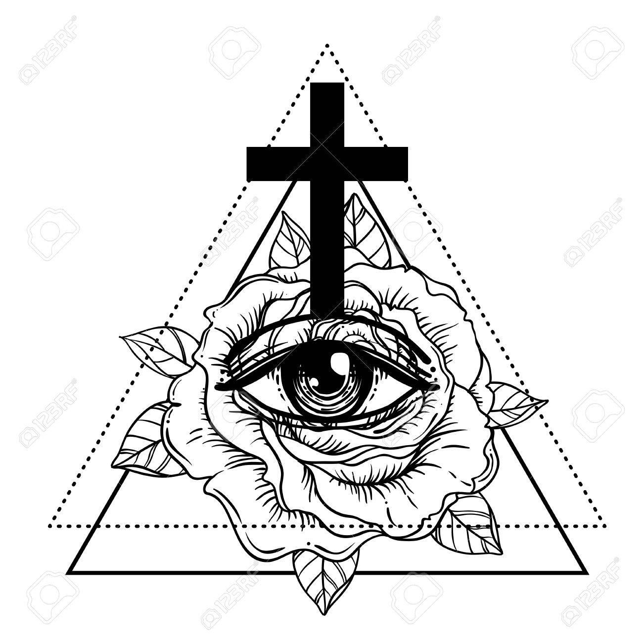 Rosicrucianism symbol. Blackwork tattoo flash. All seeing eye, Cristian cross with rose flower. Sacred geometry. Vector illustration isolated on white. Tattoo design, mystic symbol. New World Order. - 79138199