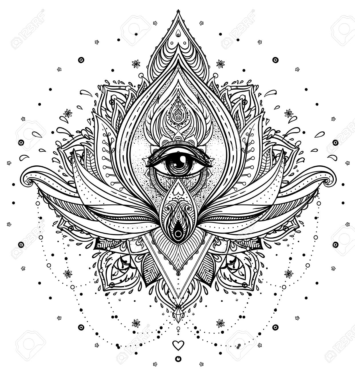 Vector ornamental lotus flower all seeing eye patterned indian vector vector ornamental lotus flower all seeing eye patterned indian paisley hand drawn illustration invitation element tattoo astrology alchemy mightylinksfo