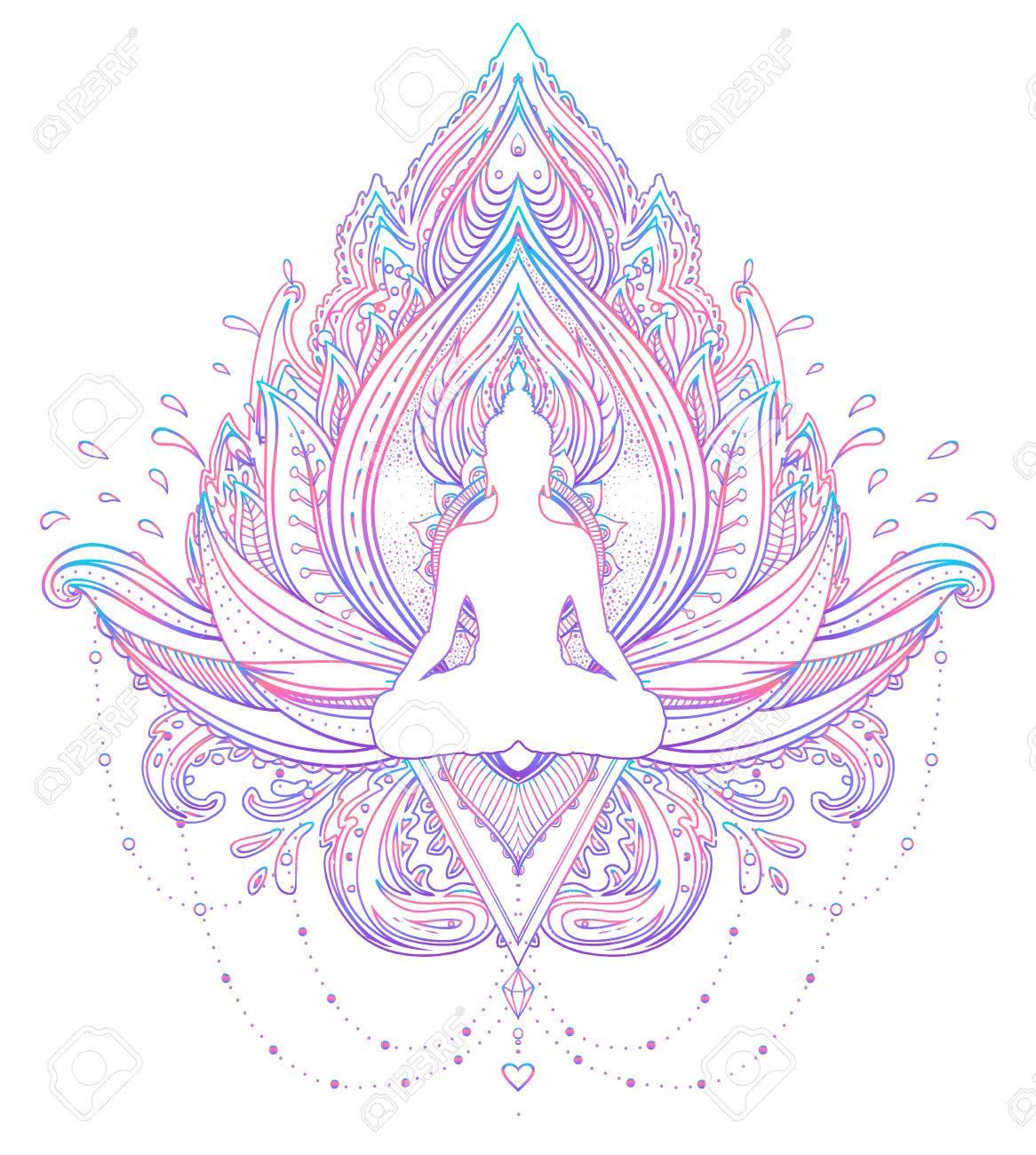 Assis La Silhouette De Bouddha Sur La Fleur De Lotus Ornementale