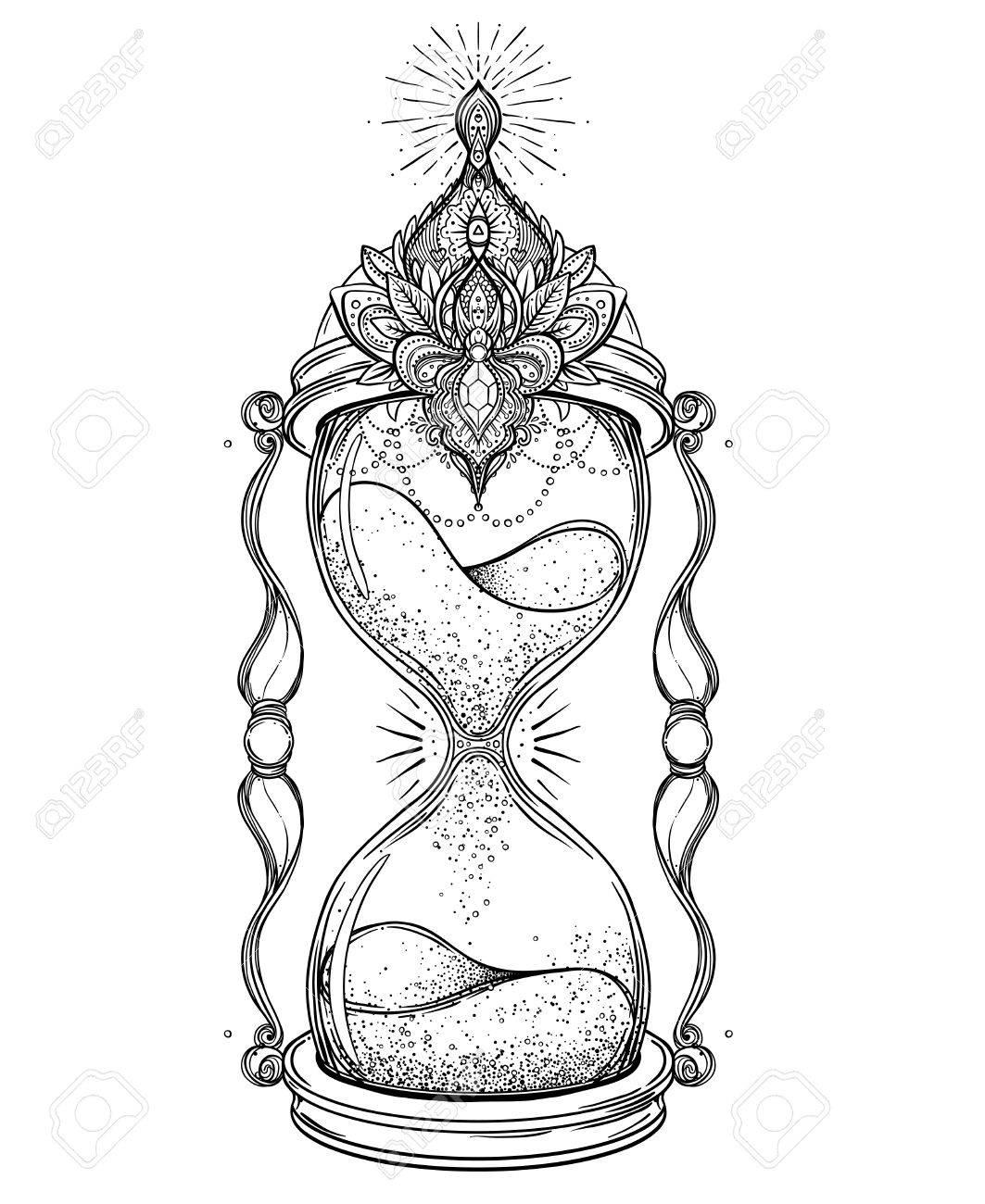 Reloj De Arena Antiguo Decorativo Con Ilustración Rosas Aislado En