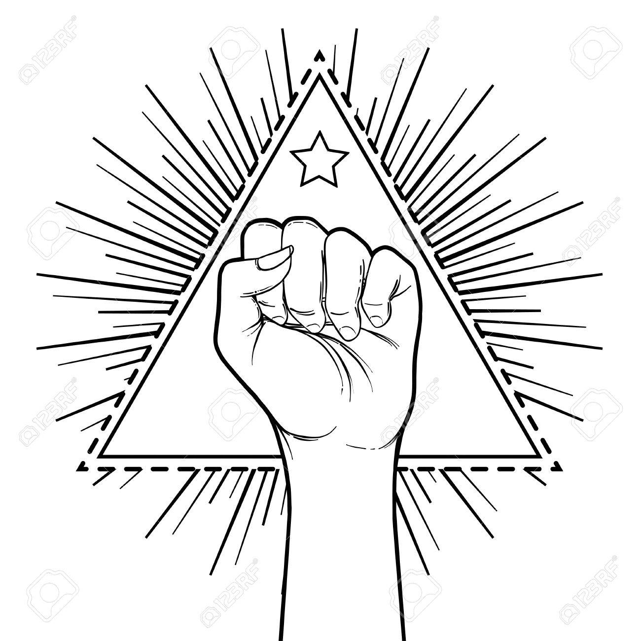 Human hand raised up over triangle shape with rays symbol of human hand raised up over triangle shape with rays symbol of fighting revolution biocorpaavc Gallery