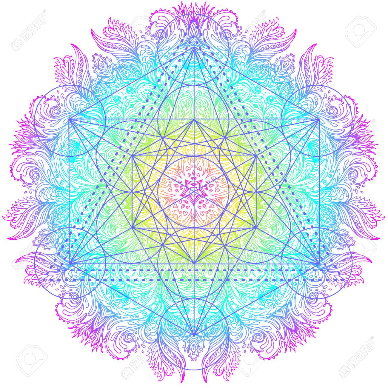 Decorativo Patrón Redondo Mandala Con Elemento De Geometría Sagrada