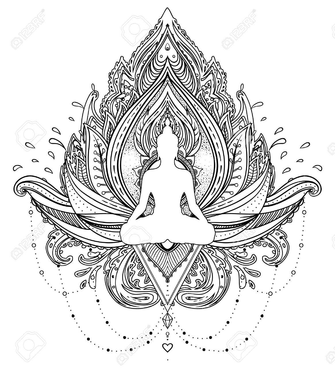 Vector ornamental Lotus flower with silhouette of Buddha, ethnic art, Indian paisley. Hand drawn illustration. Invitation element. Tattoo, spirituality, boho, magic symbol. Coloring book for adults. - 79138345