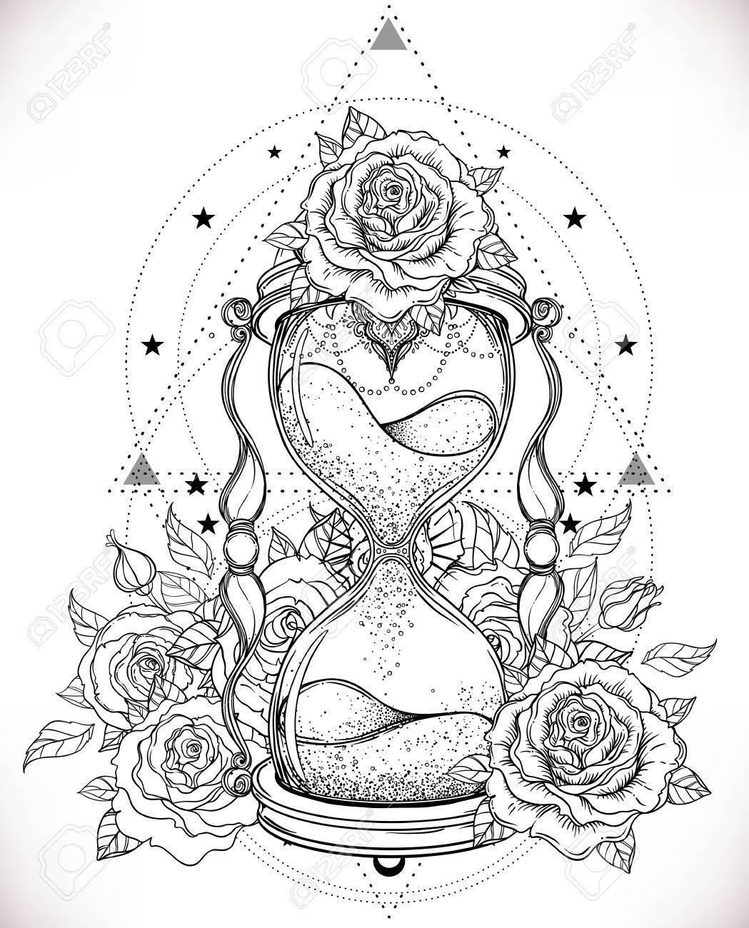 Decorative Antique Hourglass With Roses Illustration Isolated ...