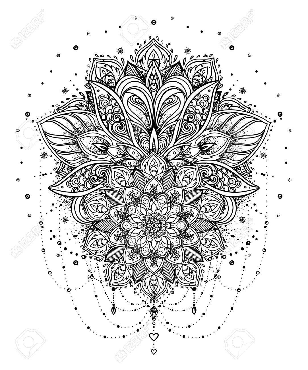 Vecteur De Fleur De Lotus Ornementale Oeil Tout A Vis Motif Indien Paisley Illustration Dessine A La Main Element De L Invitation Tatouage Astrologie Alchimie Boho Et Symbole Magique Livre Colorier Pour Adultes Clip Art