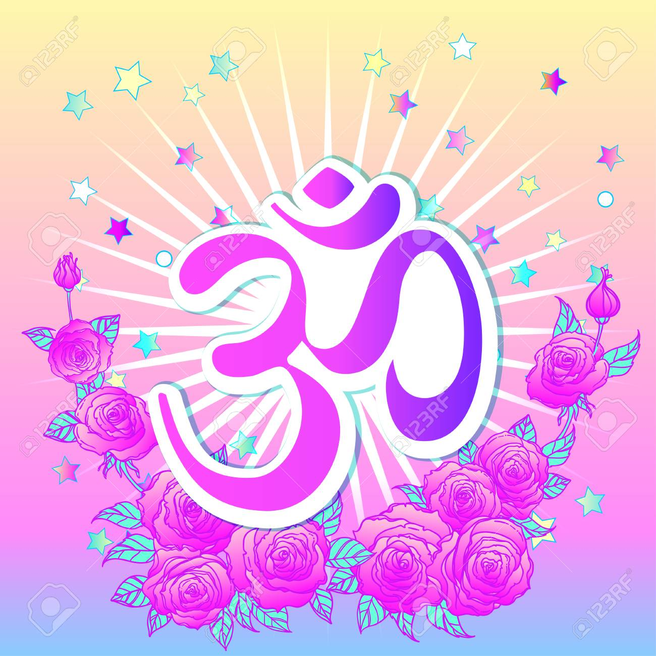 Hand drawn Ohm symbol, Indian Diwali spiritual sign Om over colorful