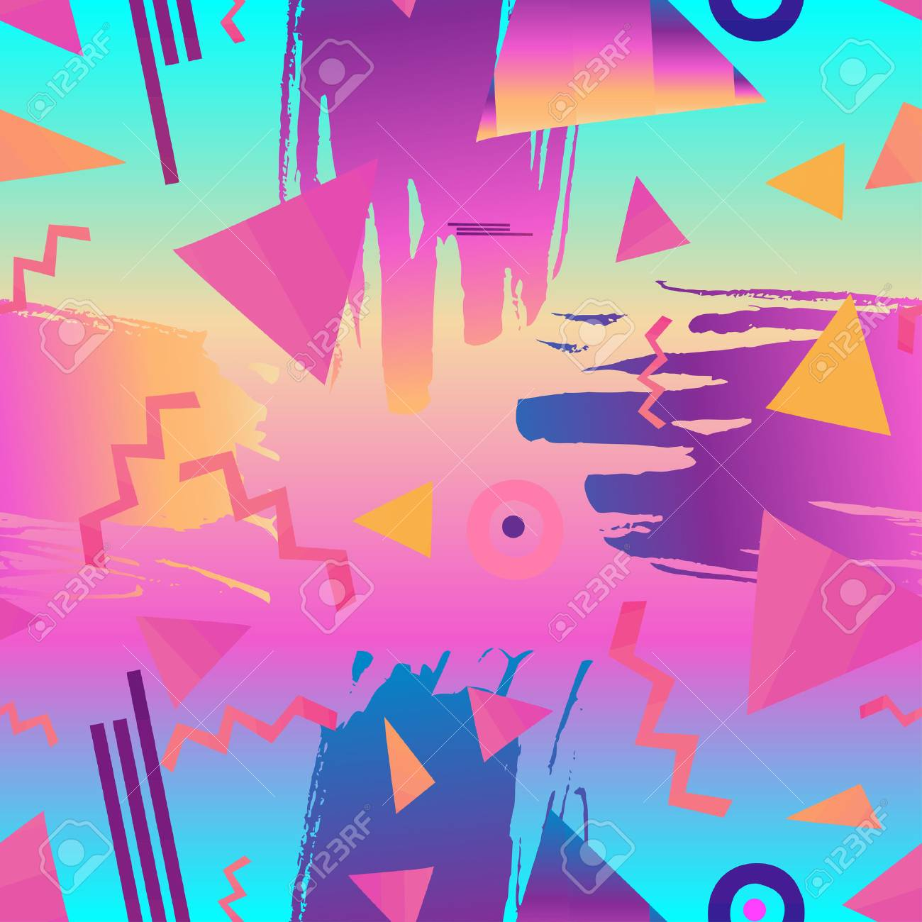Retro vintage 80s or 90s fashion style abstract seamless pattern background. Good for textile fabric design, wrapping paper and website wallpapers. Vector illustration. - 79141421