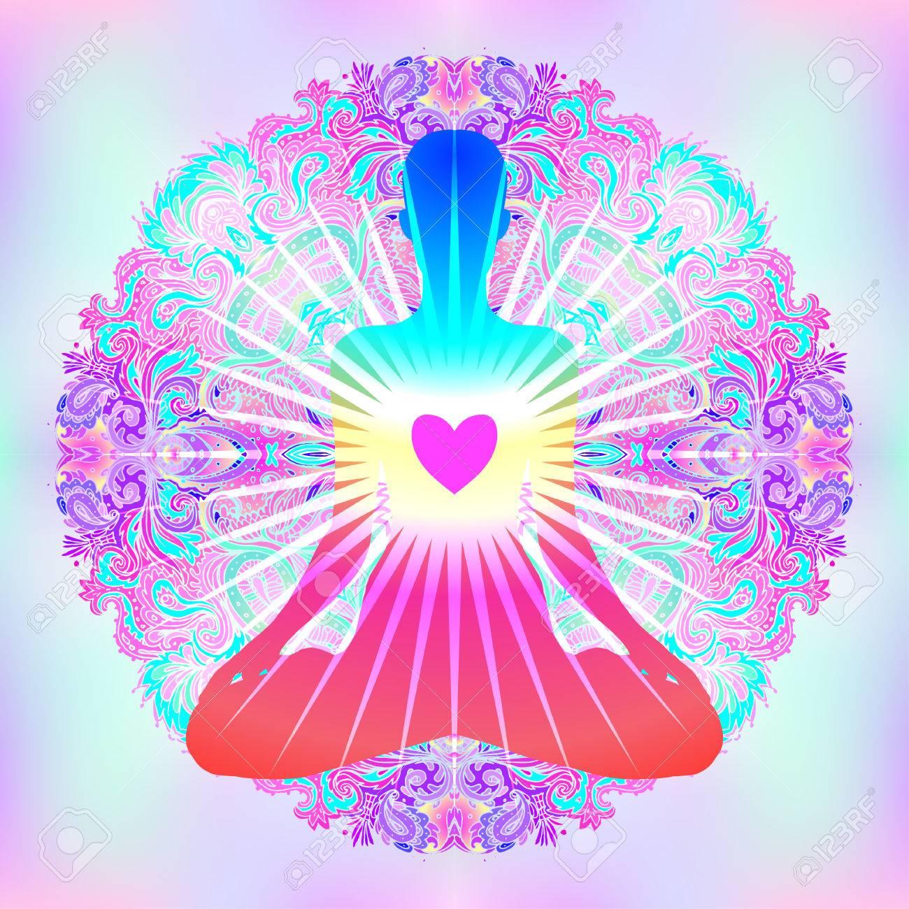 心臓のチャクラの概念。内側の愛、光と平和。カラフルな華やかな曼荼羅 ...