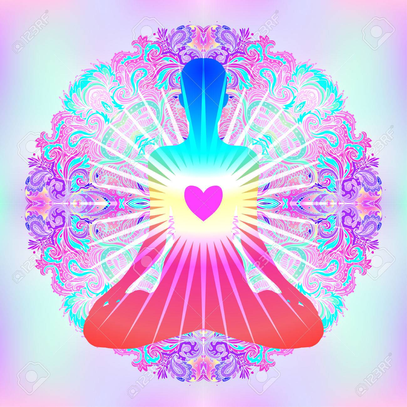 Heart Chakra concept. Inner love, light and peace. Silhouette in lotus position over colorful ornate mandala. Vector illustration isolated on white. Buddhism esoteric motifs. Tattoo, spiritual yoga. - 79141492