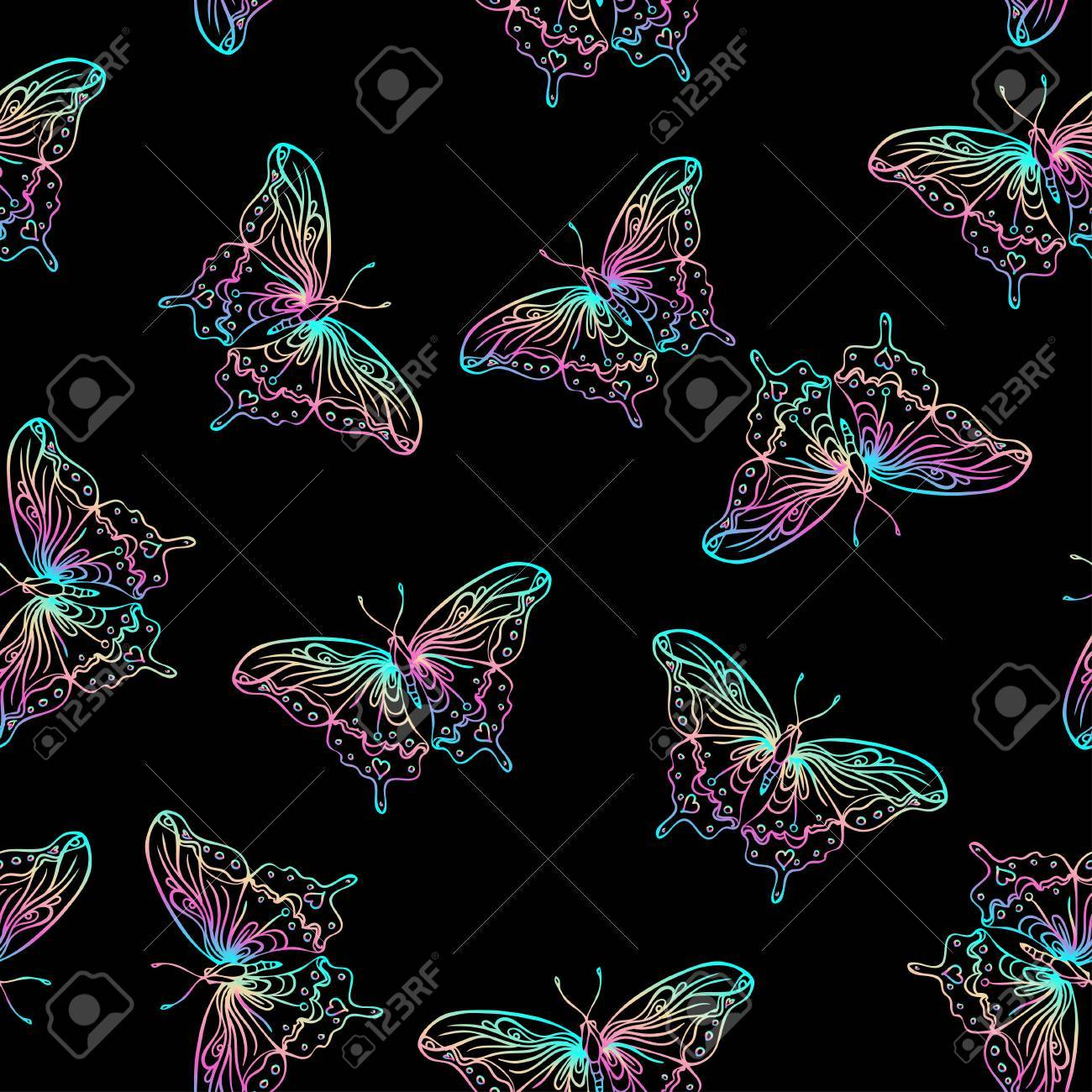 Seamless pattern with butterflies on black background. Highly detailed repetition background for textile, wrapping paper, wallpaper. Isolated vector illustration. Magic, science, astrology, alchemy. - 79141544