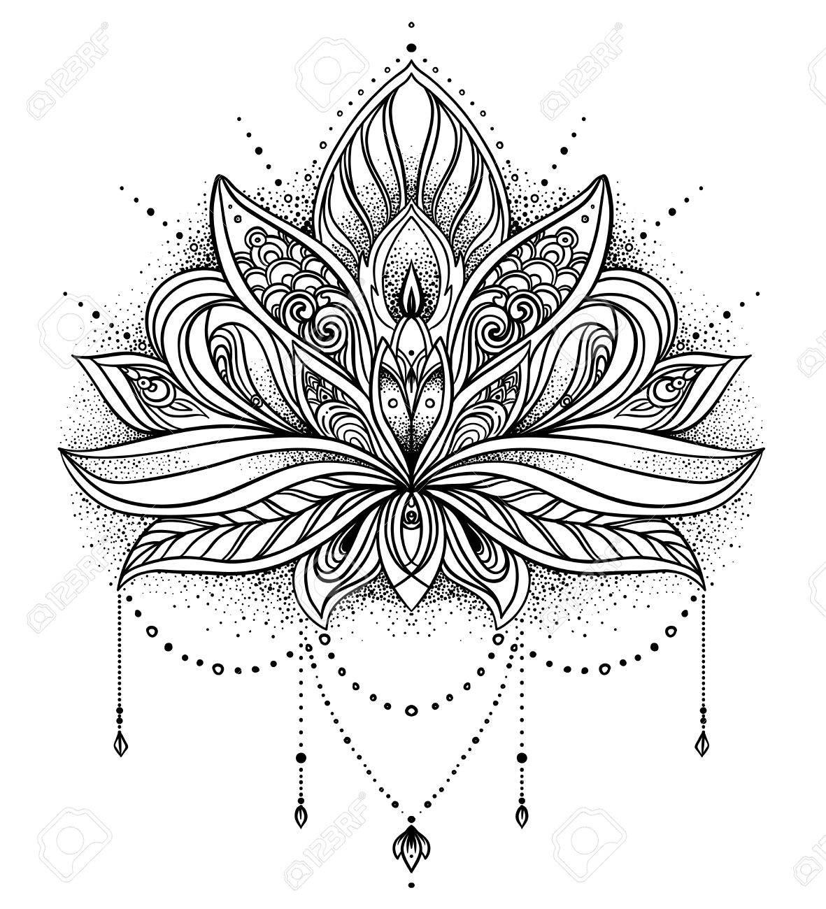 Vector ornamental Lotus flower, ethnic art, patterned Indian paisley. Hand drawn illustration. Invitation element. Tattoo, astrology, alchemy, boho and magic symbol. - 79141104