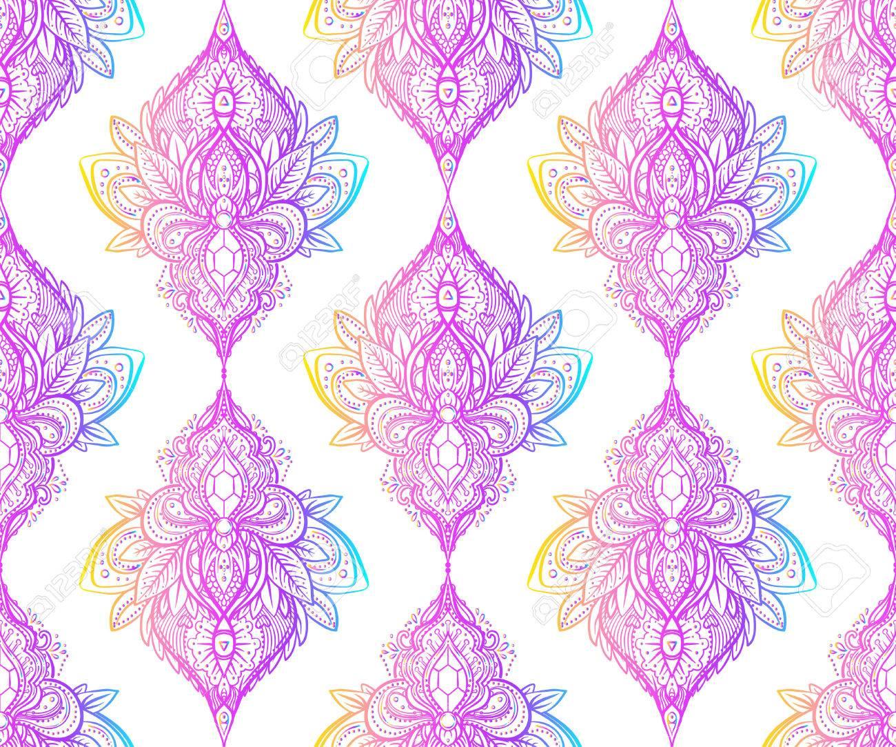 Vector ornamental Lotus flower, ethnic art, patterned Indian paisley. Hand drawn illustration. Invitation element. Tattoo, astrology, alchemy, boho and magic symbol. - 79141100