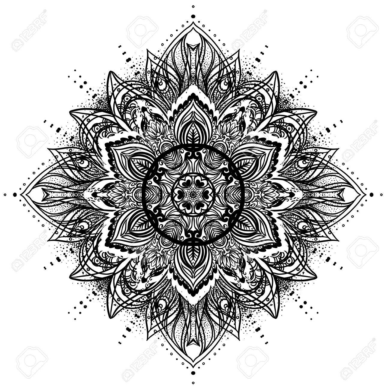 Vector Ornamental Lotus Flower Ethnic Art Patterned Indian