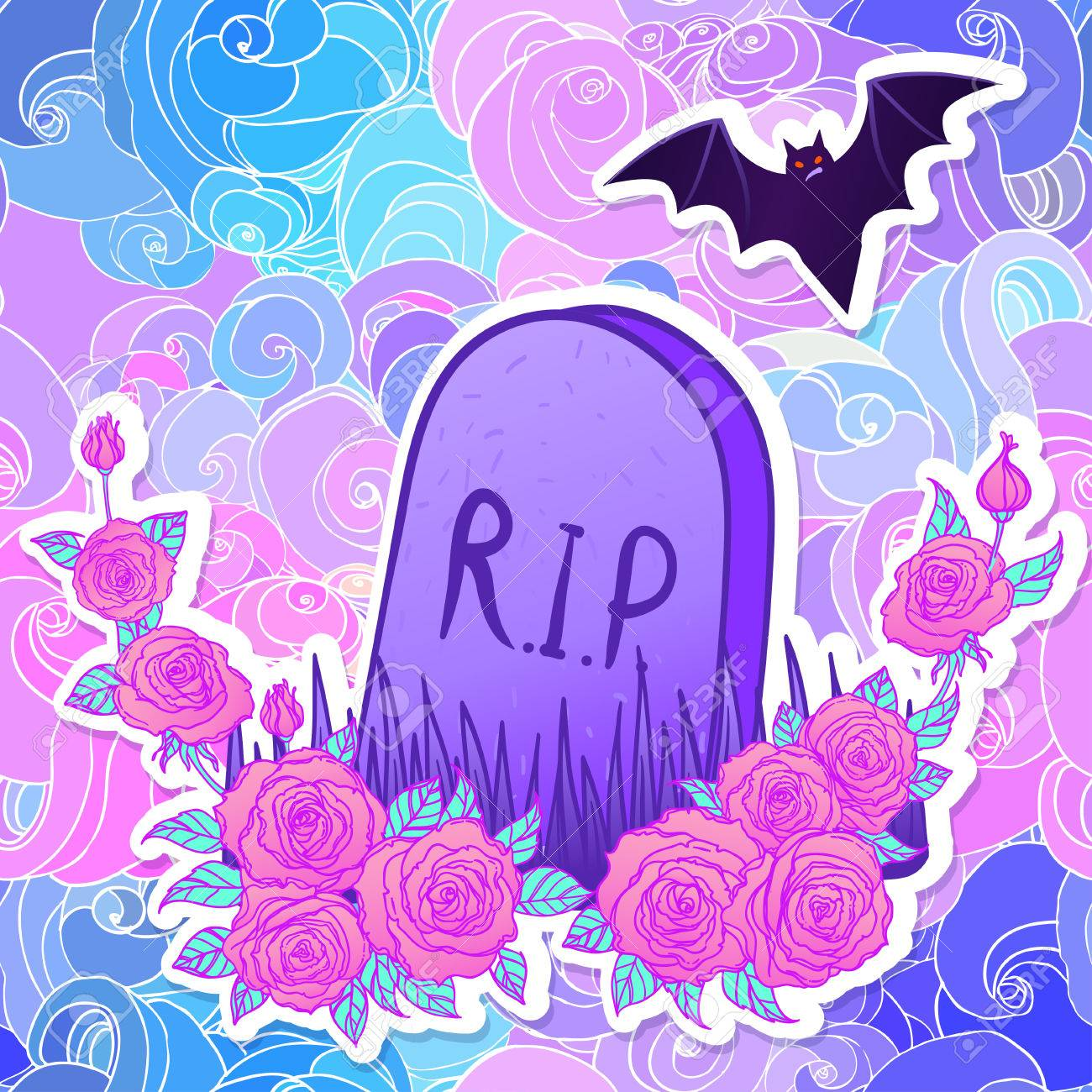 Photo Stock Vector Tombstone Bat Roses Glamour Halloween Background In Neon Pastel Colors Cute Gothic Style